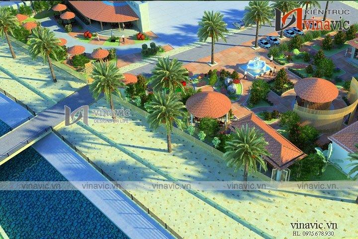 Mẫu thiết kế nhà hàng resort gần gũi với thiên nhiên NH07