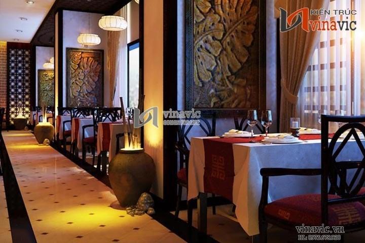 Xem mẫu thiết kế nhà hàng trang trọng đẹp lung linh NH02