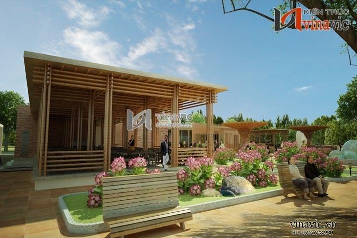 Ấn tượng mẫu thiết kế nhà hàng đẹp không gian Nam bộ NH01