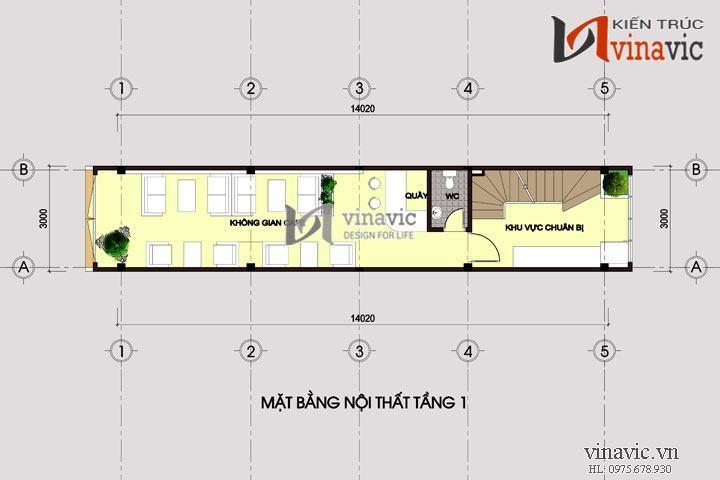 Bản thiết kế nhà ống 4 tầng 1 hầm kết hợp kinh doanh quán cafe NO1437