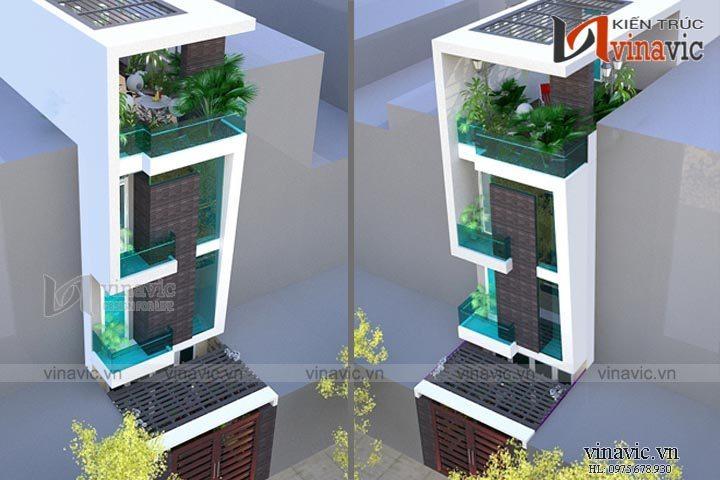 Mẫu thiết kế nhà ống đẹp 4 tầng không gian xanh tươi mới NO1450