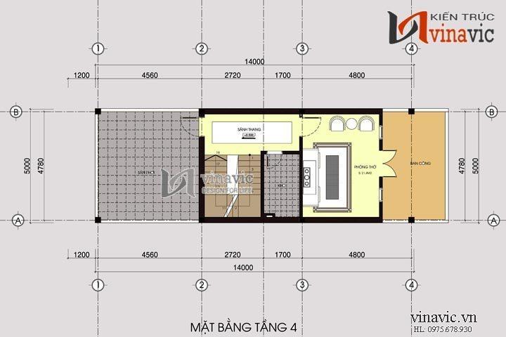 Bản vẽ thiết kế nhà ống đẹp mắt 4 tầng có gara ô tô NO1404