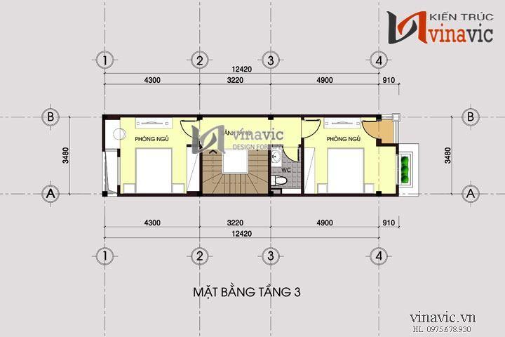 Bản thiết kế nhà ống đẹp 4 tầng tone màu nhẹ nhàng hấp dẫn NO1428