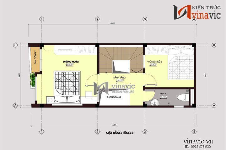 Xem mẫu thiết kế nhà ống đẹp 4 tầng trẻ trung hiện đại NO1445
