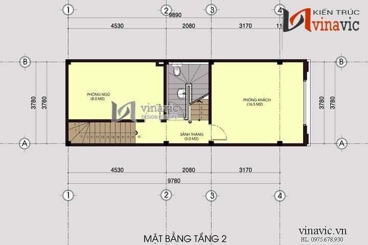 Xây dựng và cải tạo mới kiến trúc mẫu nhà ống 5 tầng NO1408