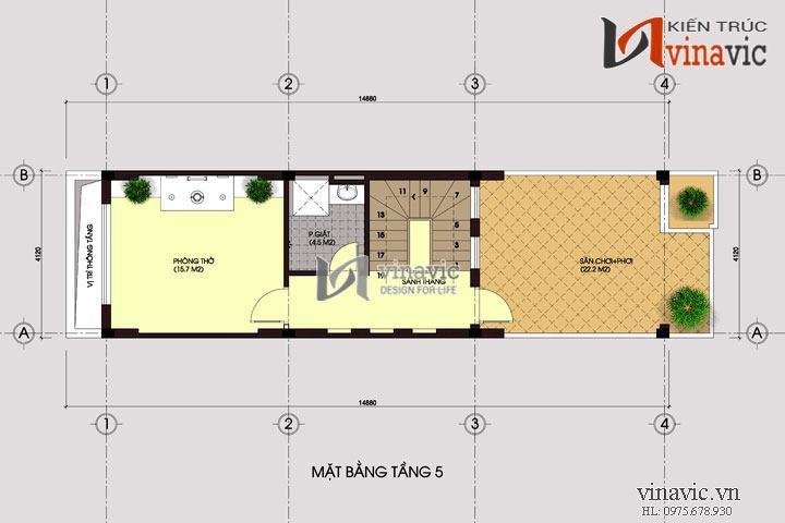 Mẫu thiết kế nhà ở kết hợp kinh doanh đẹp 5 tầng NO1438