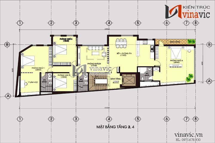 Bản vẽ thiết kế chung cư mini cho thuê đẹp 7 tầng NO1419