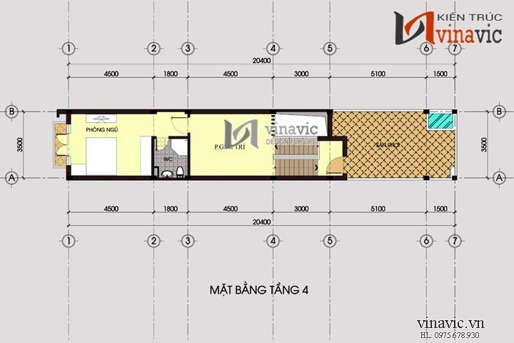 Mẫu thiết kế nhà ống đẹp 4 tầng phong cách hiện đại NO1425