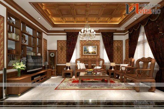 Đẹp quý phái với không gian nội thất biệt thự tân cổ điển NTB1512