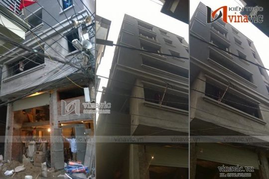 Thi công xây dựng nhà phố 7 tầng hiện đại TCNO1439