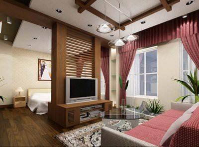Vách ngăn phân chia phòng ngủ với phòng khách một cách khéo léo