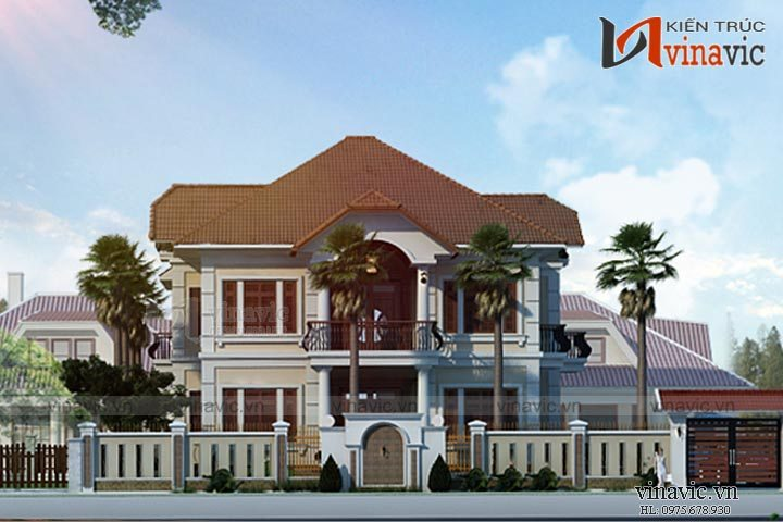 Mẫu thiết kế nhà biệt thự đẹp 2 tầng phong cách tân cổ điển BT1647