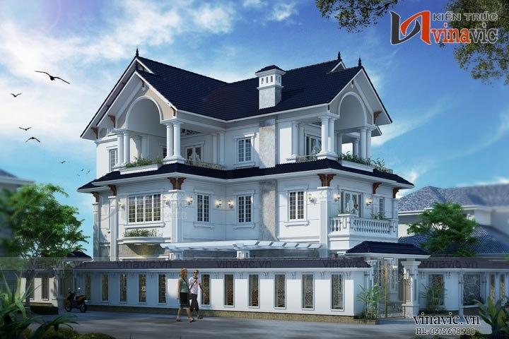Mẫu nhà biệt thự đẹp 3 tầng sang trọng và lịch lãm BT1648