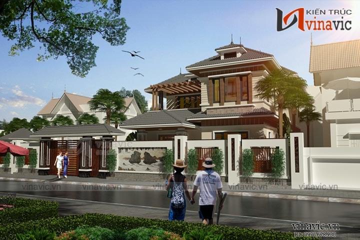 Mẫu thiết kế nhà biệt thự đẹp 2 tầng phong cách hiện đại BT1645