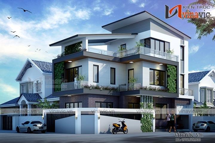 Mẫu thiết kế nhà biệt thự đẹp 3 tầng hình khối hiện đại BT1643
