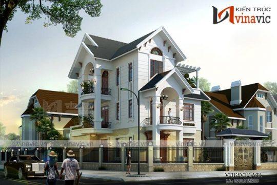 Mẫu nhà 3 tầng 2 mặt tiền 9m mái thái tân cổ điển ở Việt Trì- Phú Thọ BT1646