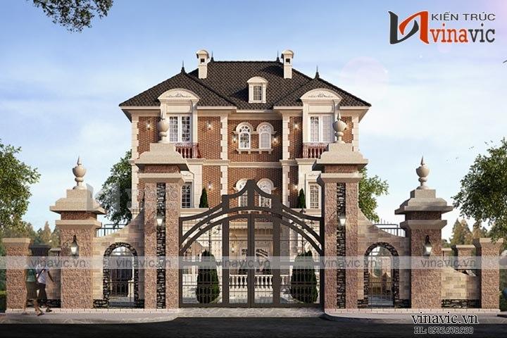 Mẫu nhà biệt thự đẹp 3 tầng sang trọng và cổ kính BT1649