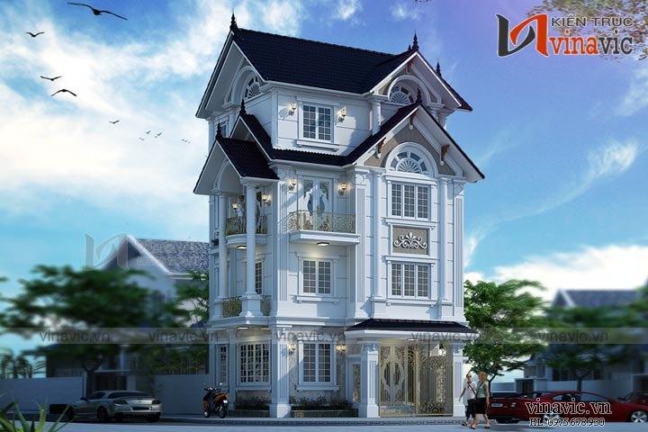 Mẫu thiết kế nhà biệt thự đẹp 4 tầng tân cổ điển BT1644