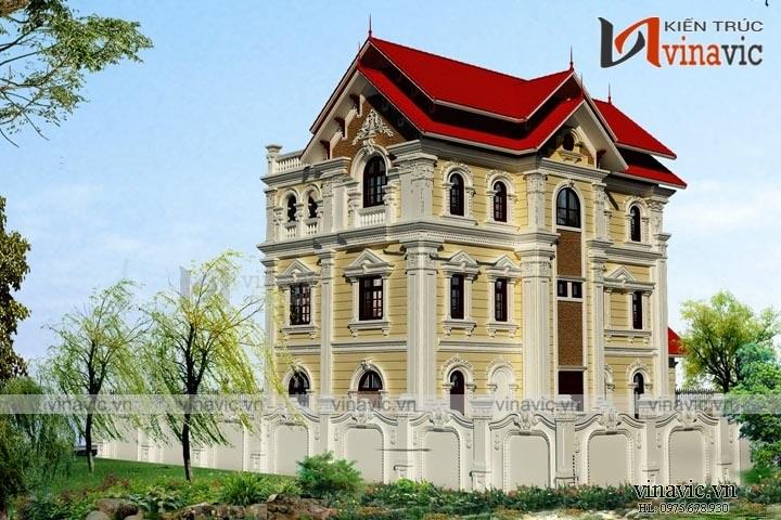 Mẫu nhà biệt thự đẹp 3 tầng cổ điển BT1652