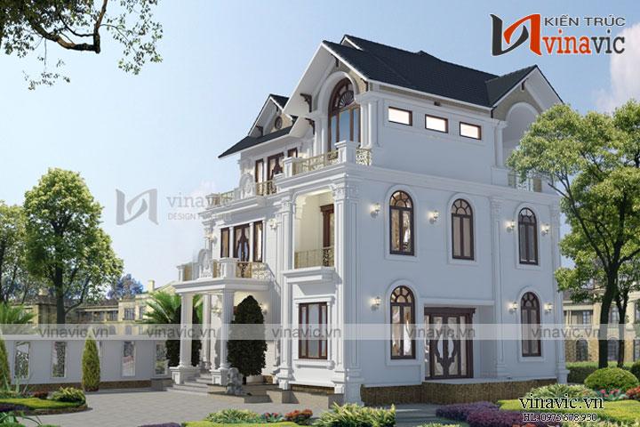 Mẫu nhà biệt thự đẹp 3 tầng tân cổ điển BT1655