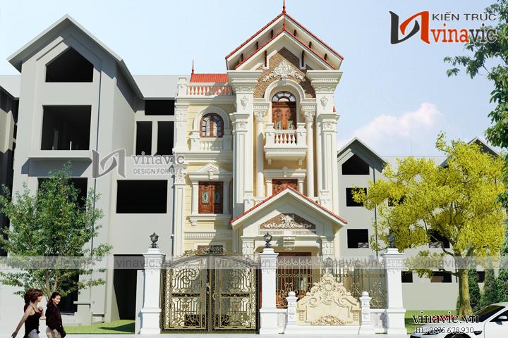 Mẫu nhà biệt thự đẹp 3 tầng cổ điển BT1658