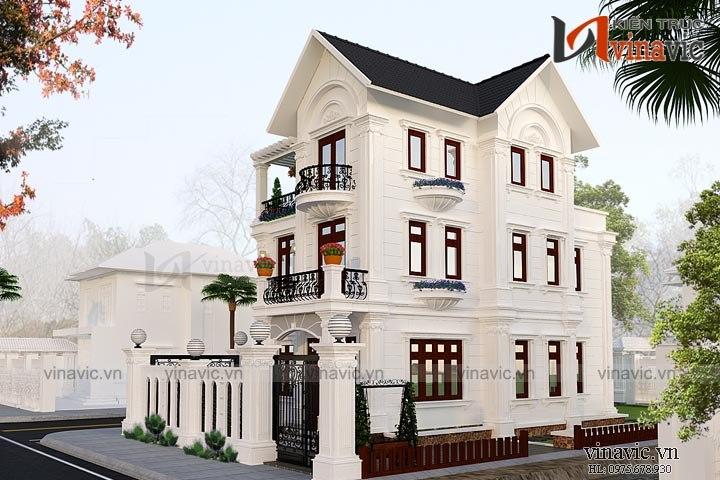 Mẫu nhà biệt thự đẹp 3 tầng tân cổ điển BT1657