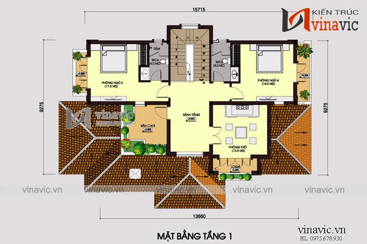 Biệt thự đẹp 2 tầng mái thái 130m2 5 phòng ngủ khoảng 1,5 tỷ BT1660