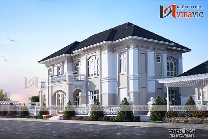 Mẫu nhà biệt thự đẹp 2 tầng tân cổ điển BT1665