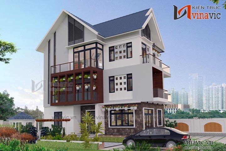 Mẫu nhà biệt thự đẹp 3 tầng hiện đại BT1662