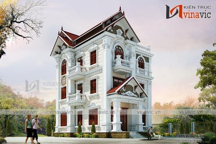 Mẫu nhà biệt thự đẹp 3 tầng cổ điển BT1664