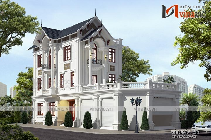 Mẫu nhà biệt thự đẹp 3 tầng tân cổ điển BT1666