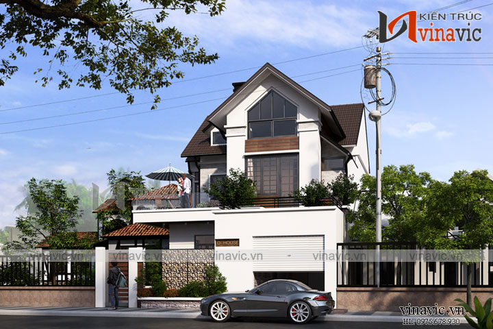 Mẫu nhà biệt thự đẹp 2 tầng mái dốc truyền thống đan xen trang trí hiện đại  BT1671
