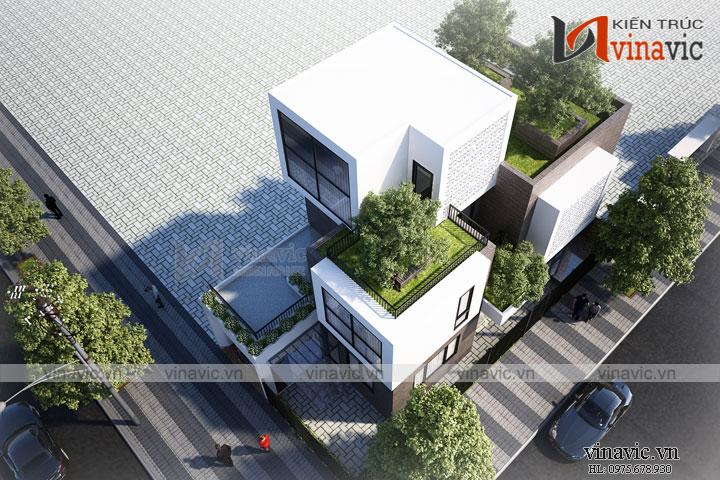 Mẫu nhà biệt thự đẹp 3 tầng tràn ngập cây xanh giữa lòng Cẩm Phả  BT1673