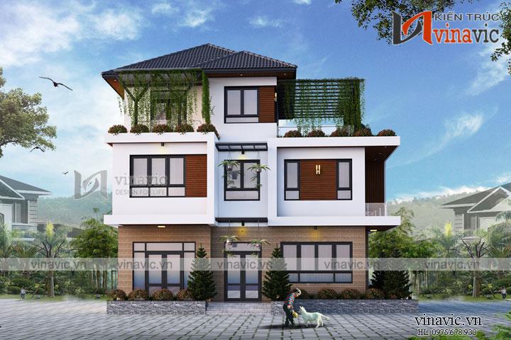 Mẫu nhà biệt thự đẹp 3 tầng hình khối vật liệu hiện đại  BT1675