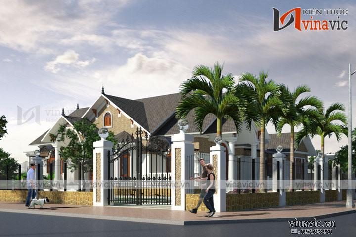 Mẫu biệt thự đẹp một tầng nhẹ nhàng nổi bật giữa vùng quê Hạ Hòa Phú Thọ BT1676