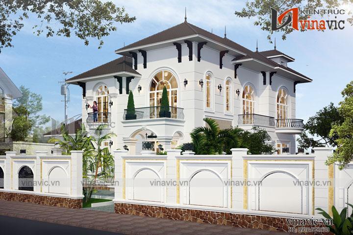 Mẫu thiết kế biệt thự tân cổ điển 2.5 tầng nhẹ nhàng cổ kính BT1679