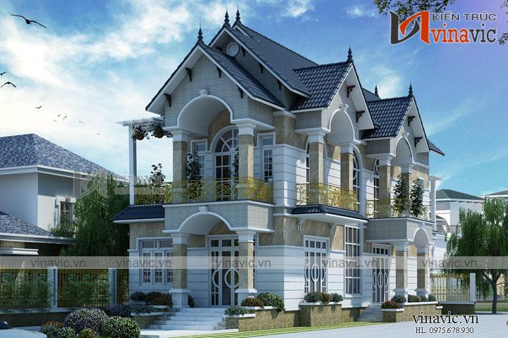Mẫu thiết kế biệt thự 2 tầng tân cổ điển sang trọng ấn tượng BT1681