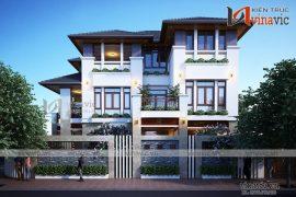 Mẫu thiết kế biệt thự 3 tầng kiến trúc hiện đại ấn tượng BT1682