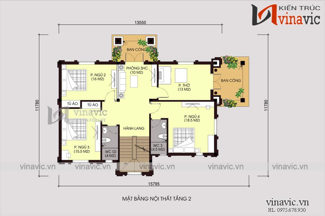 Mẫu thiết kế nhà 2 tầng 1 tum 15x11m phong cách cổ điển BT1686