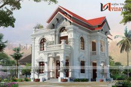 mẫu thiết kế biệt thự đẹp 2 tầng cổ điển sang trọng BT1686