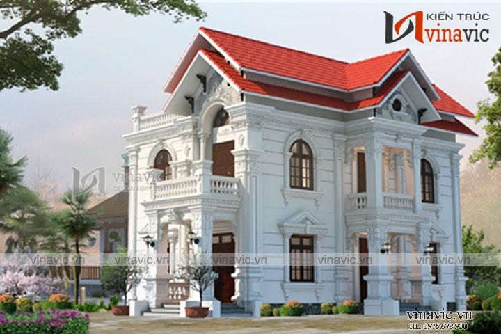 Mẫu thiết kế biệt thự 2 tầng cổ điển sang trọng đẳng cấp BT1686