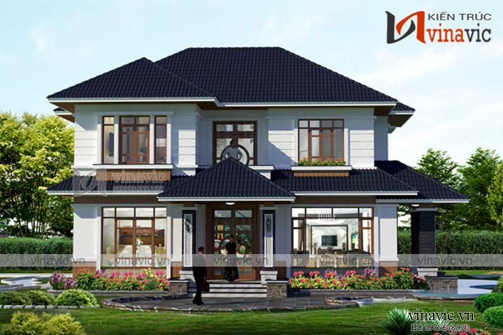 Mẫu thiết kế nhà vườn 2 tầng 120m2 mặt tiền 12m chiều sâu 10m BT1688
