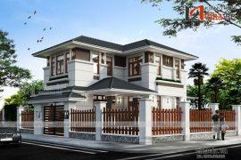 Mẫu thiết kế biệt thự 2 tầng mái thái hiện đại BT1693