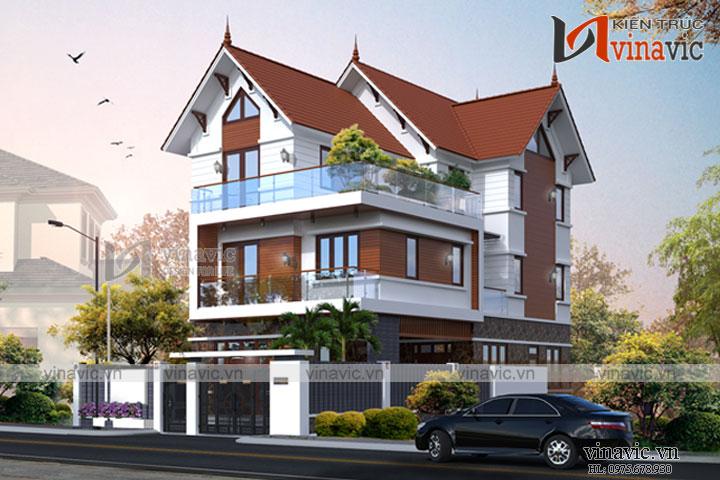 Mẫu thiết kế biệt thự 3 tầng mái thái hiện đại BT1692