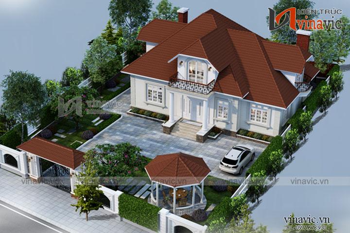 Mẫu thiết kế biệt thự 1.5 tầng tổ hợp mái thái ấn tượng BT1694