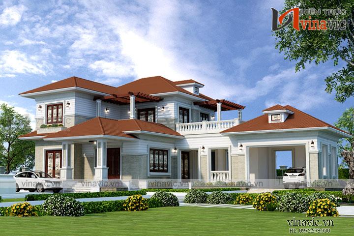 Mẫu thiết kế biệt thự 2 tầng mái thái tuyệt đẹp trên khuôn đất rộng BT1802