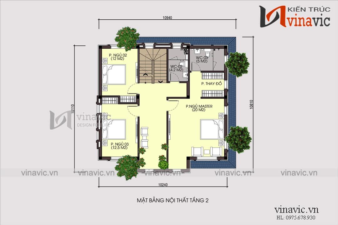 Mẫu thiết kế biệt thự 3 tầng kiến trúc tân cổ nhẹ nhàng thanh thoát BT1696