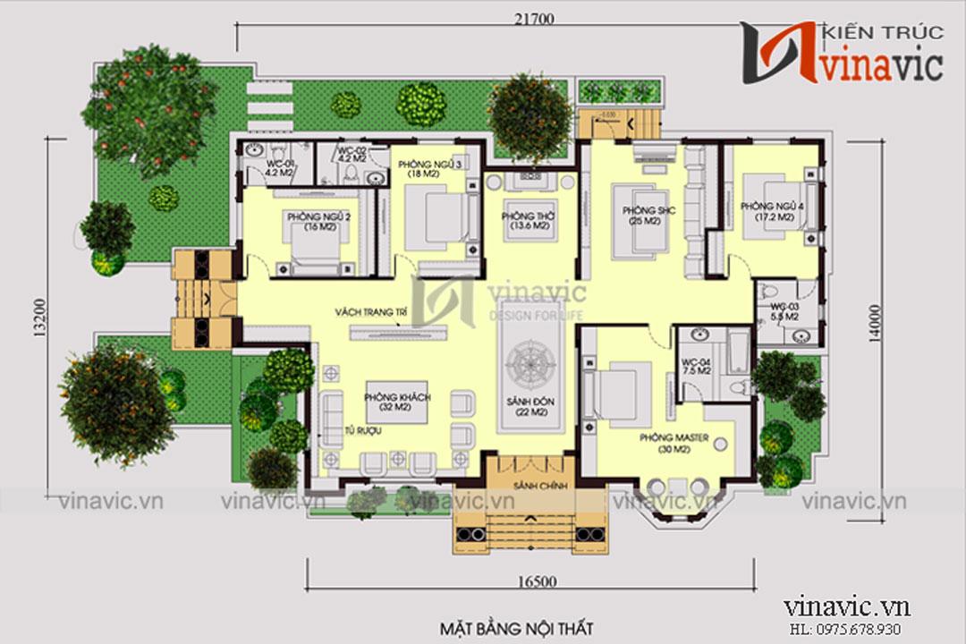 Mẫu thiết kế biệt thự đẹp 1 tầng tân cổ điển đẳng cấp BT1804