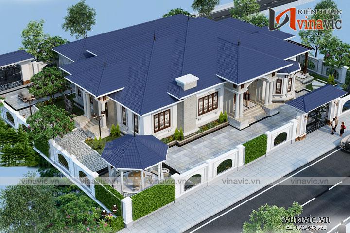 Thiết kế nhà vườn 280m2 4 phòng ngủ mặt tiền 16m ở Hậu Giang BT1804