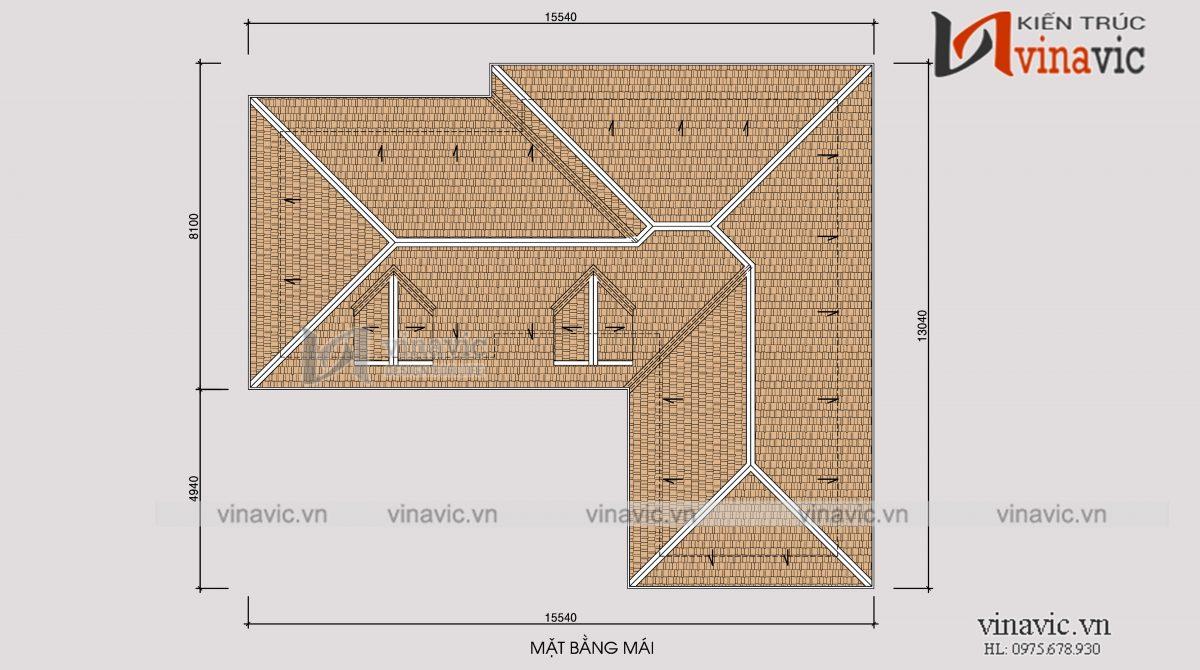 Mặt bằng mái mẫu nhà biệt thự xinh 2 tầng mái thái mặt tiền rộng